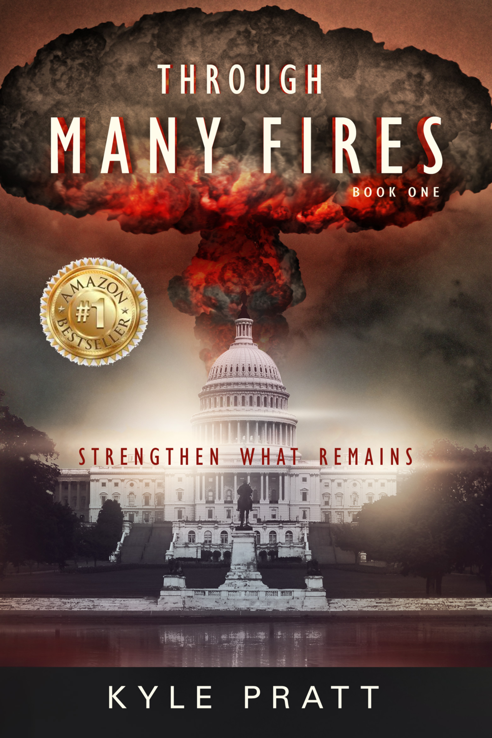 Through Many Fires    Book one in the Strengthen What Remains series.   Terrorists smuggle a nuclear bomb into Washington D.C. and detonate it during the State of the Union Address. Caden Westmore is in nearby Bethesda and watches as the mushroom cloud grows over the capital. The next day, as Caden drives away from the still burning city, he learns another city has been destroyed and then another. Panic ensues and society unravels.