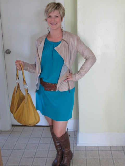 Dress - Thrift store (Banana Republic), Jacket - Danier, Boots - Vince Camuto at Nordstrom's, Belt - Thrift store, Bag - Nine West