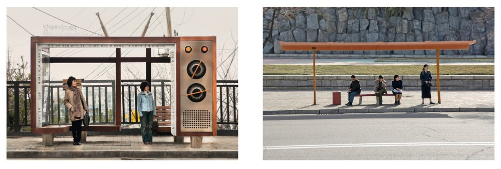 Bus stop for Boseong Girls' Middle and High School / Bus stop in Pyongyang