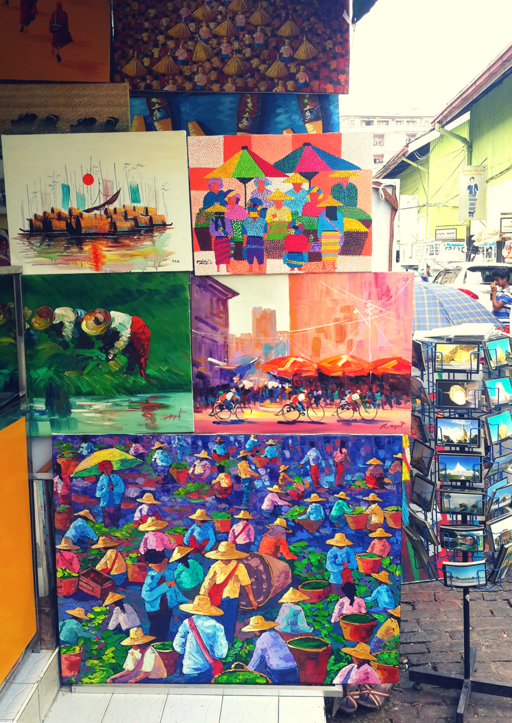 Colourful local art in Yangon