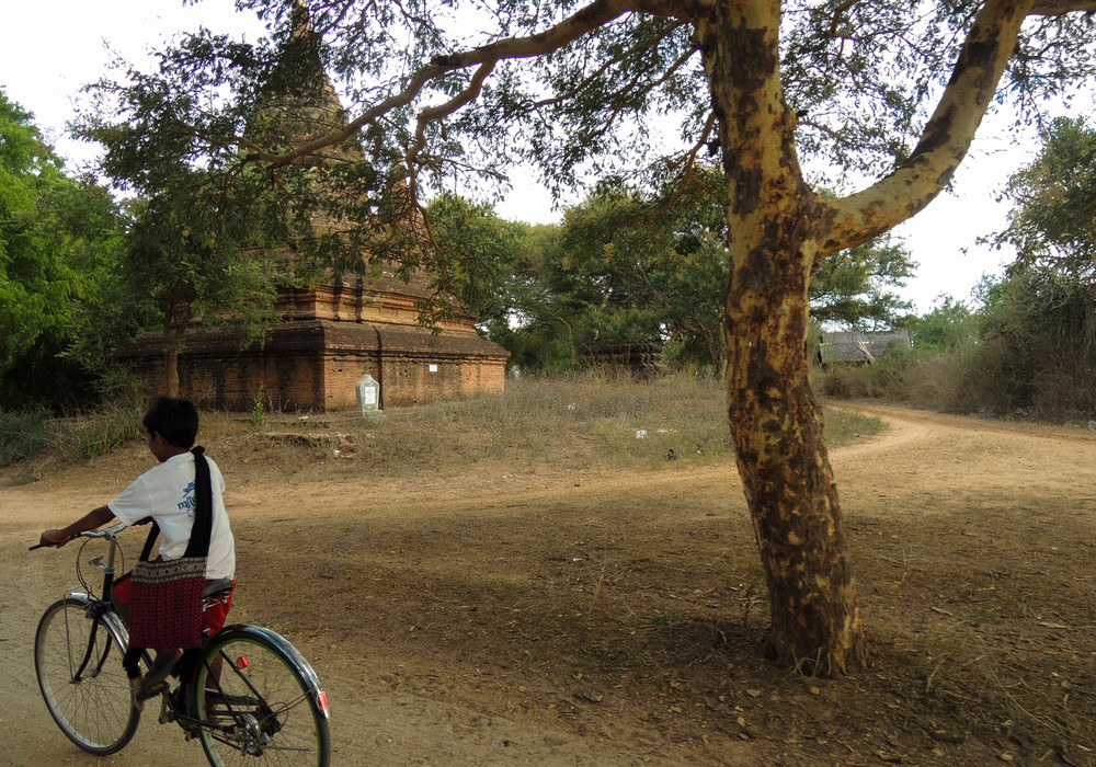 Cycling through Bagan.