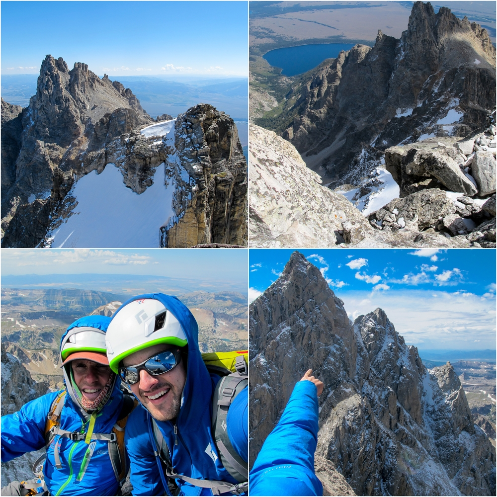 (Top Left) Looking back at Mt. Teewinot. (Top Right) Looking down Mt. Owen (Bottom Left) Gary and I on Mt. Owen Summit. (Bottom Right) North Face of Grand and other peaks (Full winter on that side!)