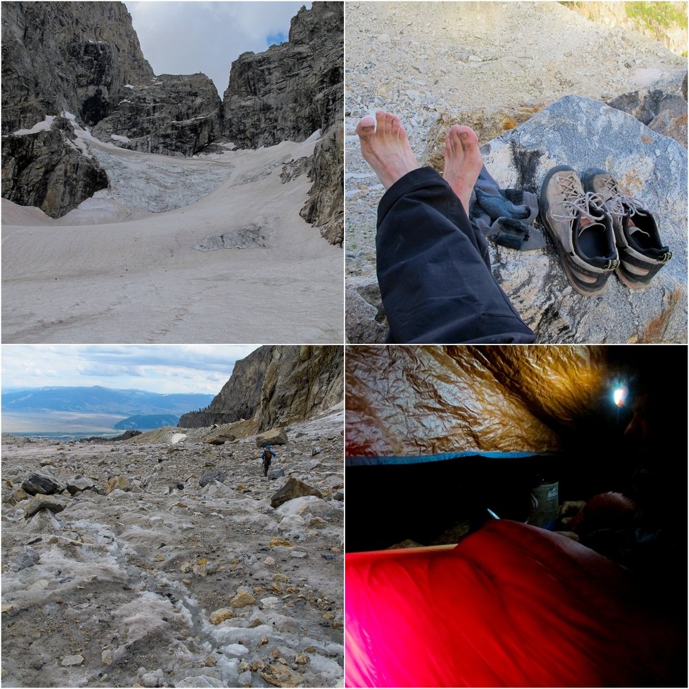 "(Top Left) Teton Glacier as seen from ""Glacier Gulch"" (Top Right) After 14-1/2 hours of full-tilt action, having my shoes off was a slice of heaven! (Bottom Left) Talus field of glacier (Bottom Right) 5am tent scene."