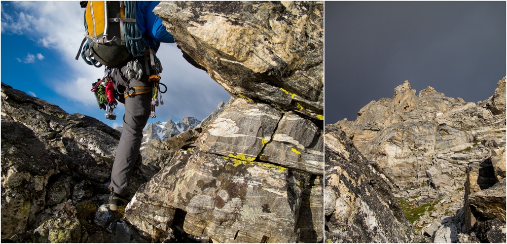 "(Left) At about 11,500' we stopped for some food. Looking south at Day 3 objectives....The ""weather"" moves in.  (Right) Looking up at the first ""molar tooth"" and the weather......"