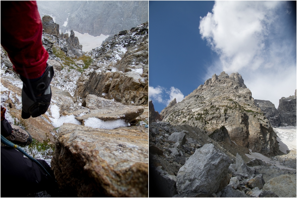 (Left) Belay ledge at 12,300' in the middle of the hail storm. Right before the lighting. It was incredible to see how quickly the smallest areas filled with hail and water. (Right) Back down around 11k watching the summit of the Grand make its own clouds.