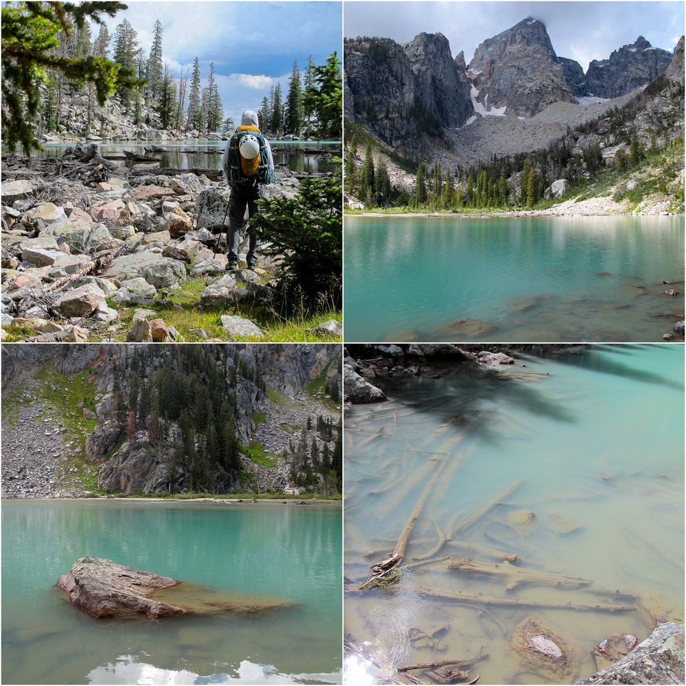 (Top Left) Entry of Delta Lake on hike down (As seen from image above) (Top Right) The Grand once again making its own weather as more clouds roll in (Bottom Left) Yes, that is the color of the lake! So amazing. (Bottom Right) Delta Lake!