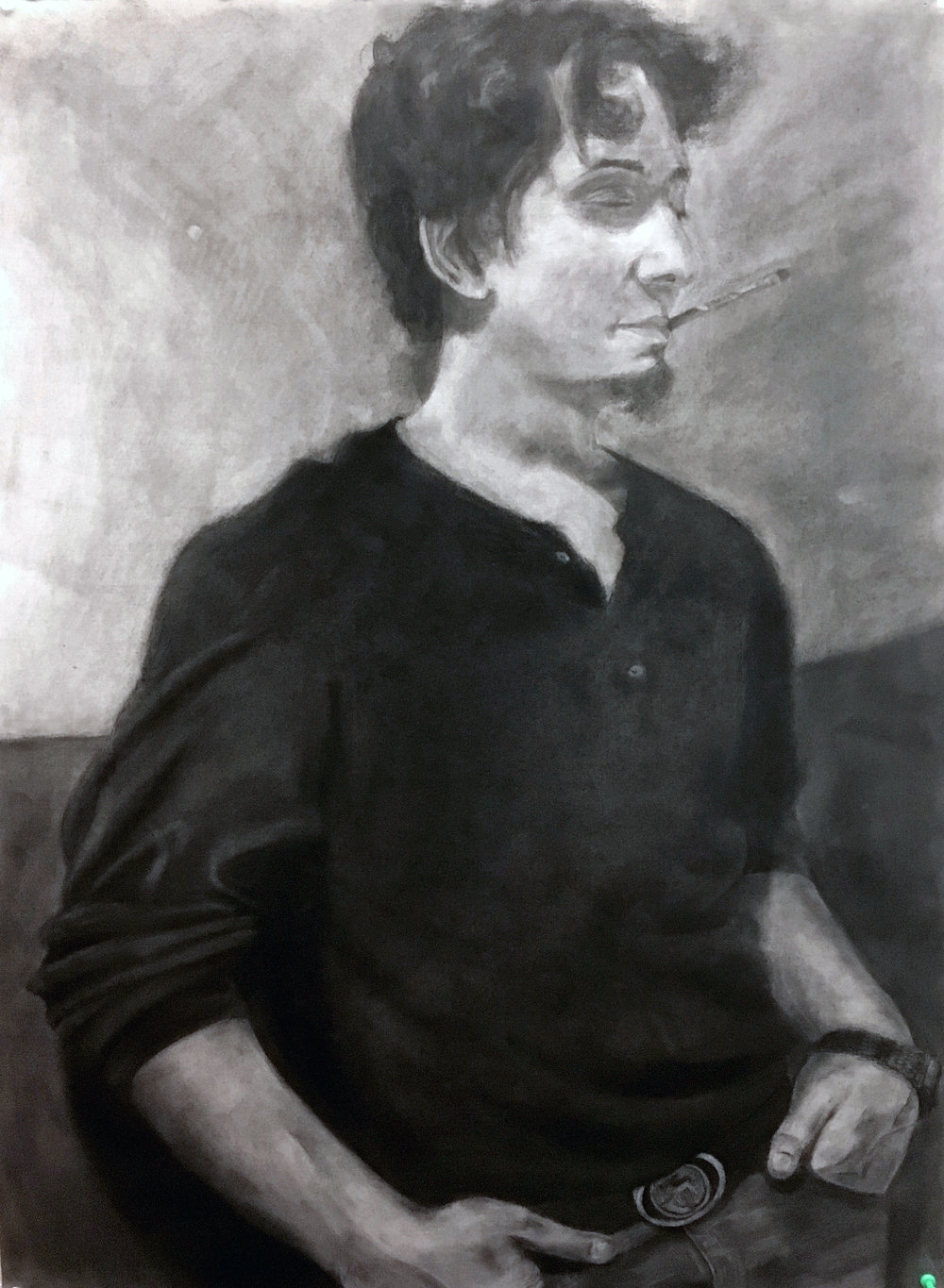 "Drawing using grid-method 22"" x 30"" charcoal on paper"