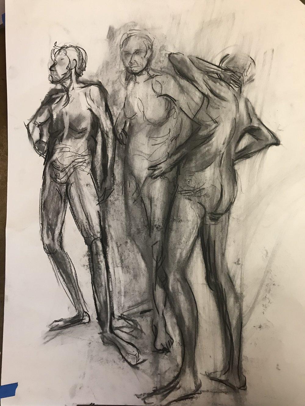 Figure study emphasizing motion