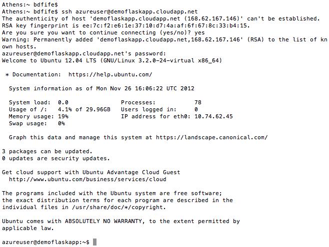 Initial SSH Login.