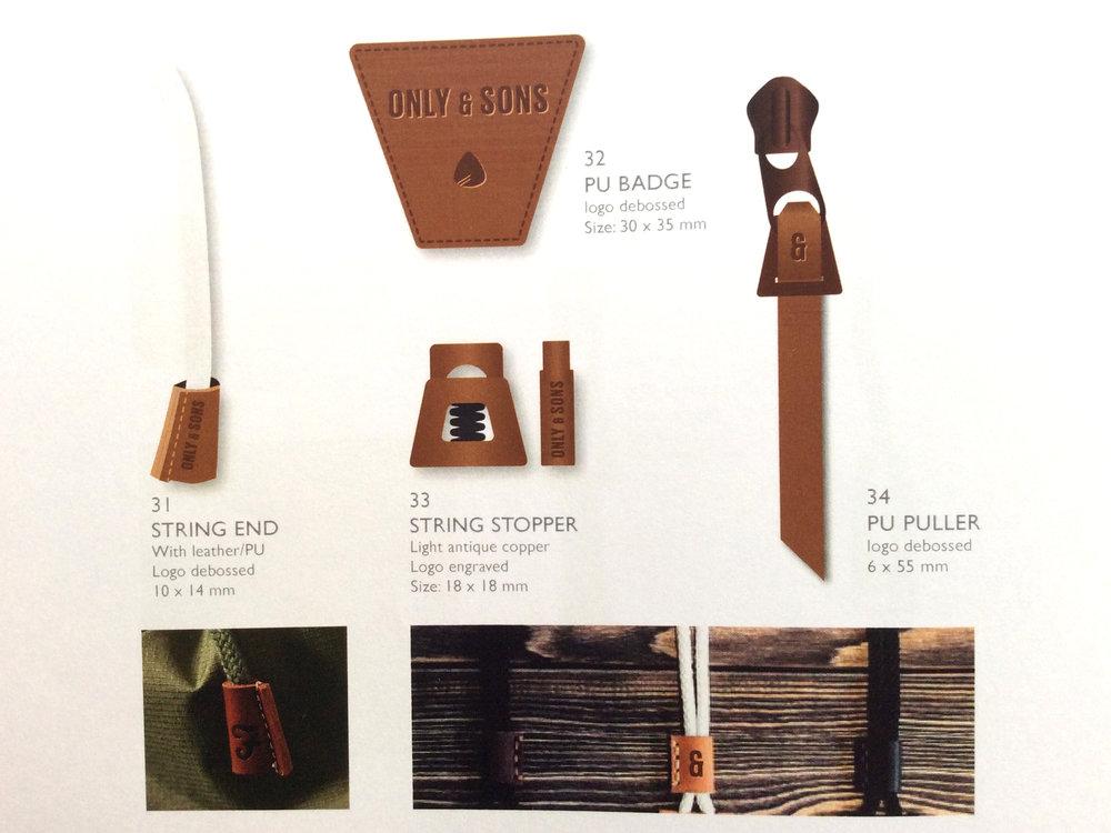 STUDIO 9 / sketches til badge, string end, string stopper, zipper puller.