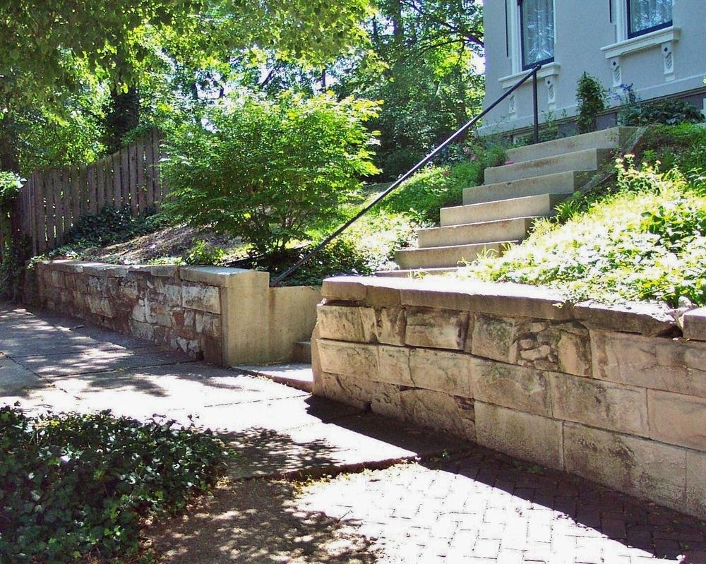 Early 1800's Limestone Retaining Wall - Soulard Neighborhood - Saint Louis, MO - Stone Works - Lee Lindsey