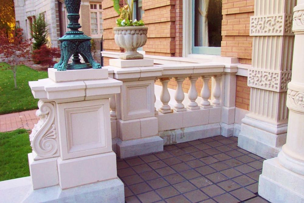 Terracotta balustrade after restoration.  Lee Lindsey  Stone Works, St. Louis, MO