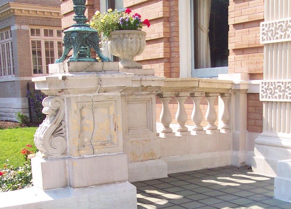 Before restoration of the terracotta balustrade.