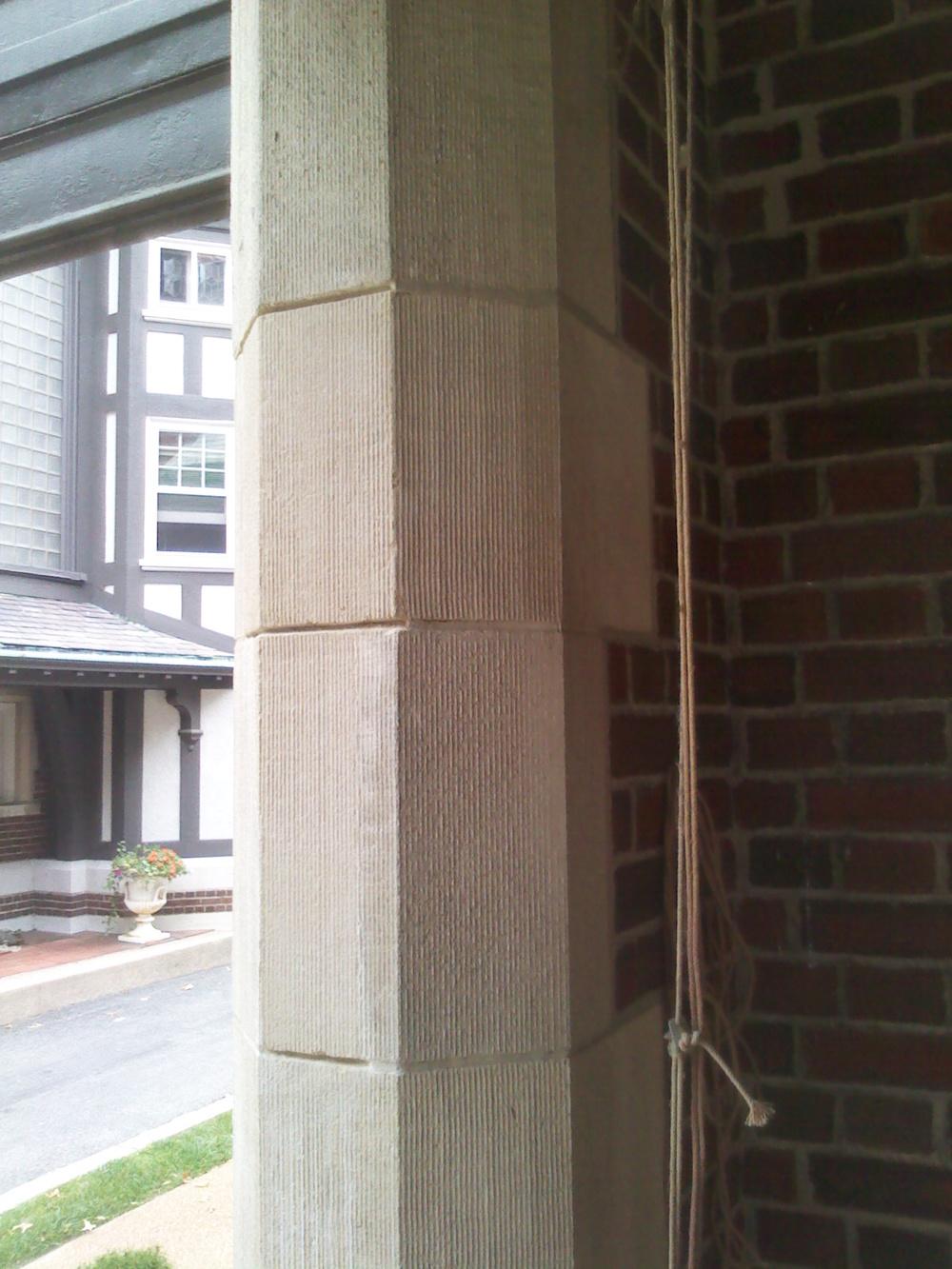 Cast stone quoins after restoration.  Lee Lindsey  Stone Works, St. Louis, MO