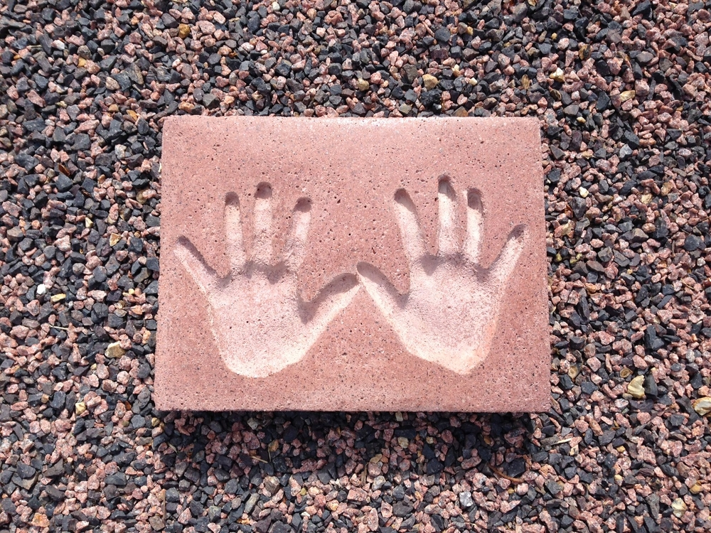 Handprints in Red Granite