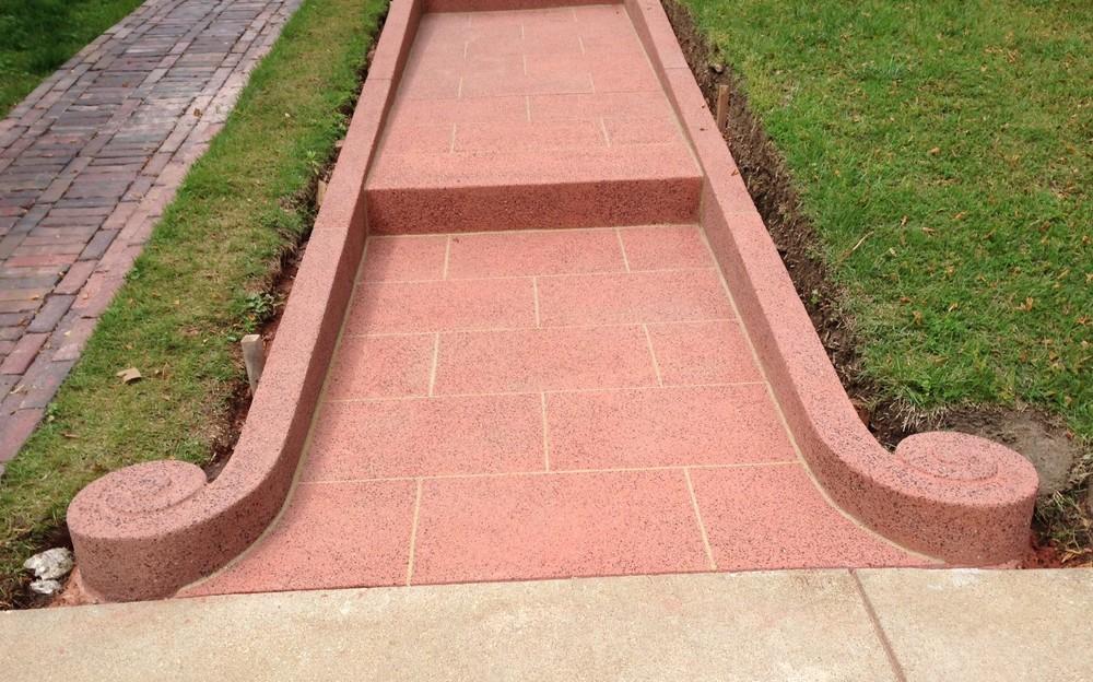 Granite Concrete Walk with Volutes