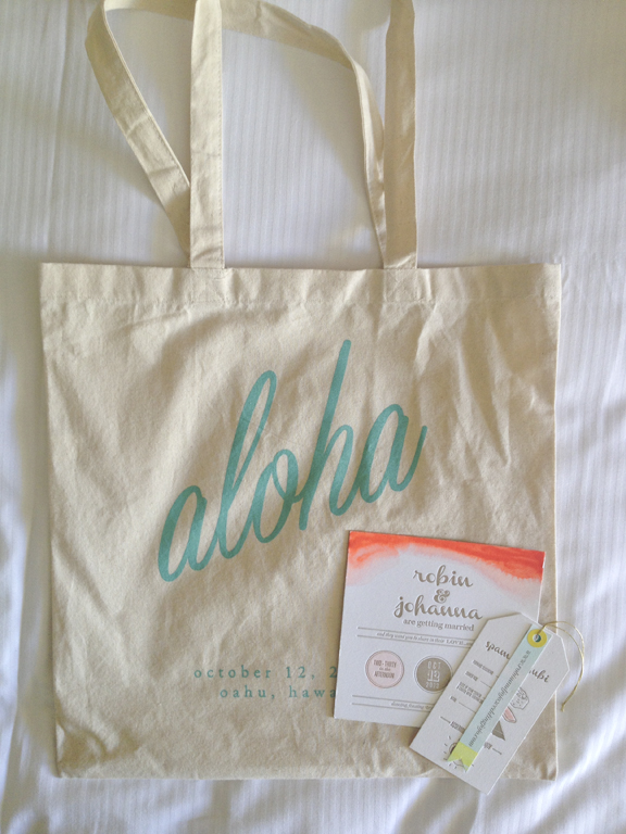 Upon arrival to our hotel, we were given a tote full of goodies at check-in by the bride and groom. So clever and sneaky!