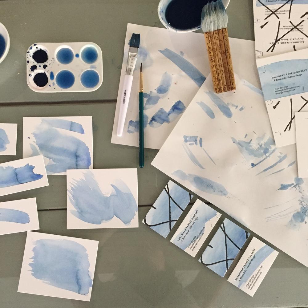Indigo watercolor tests for Savannah Farris-Gilbert