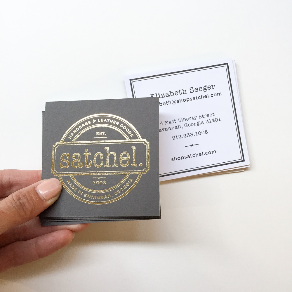 Square business cards for Satchel, a handbags and leather goods studio + store based in Georgia. Gold foil on one side and mounted on digital on the other. This card has been mounted to allow the 2 different processes to work together- it also gives a different color to each side of the card. Logo design by Greta Ackerman