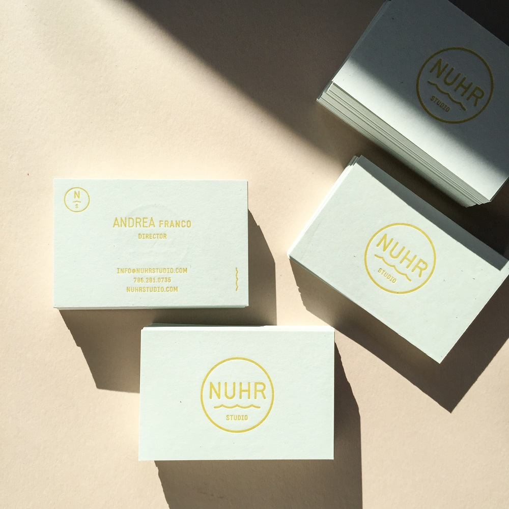 Letterpress cards for Nuhr Studio, a production company based in Los Angeles who create short branded films with an emphasis on intimate details and the creative process. Definitely check out their work!