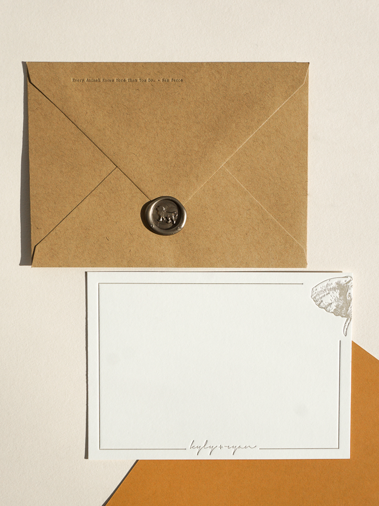 Custom letterpress printed stationery