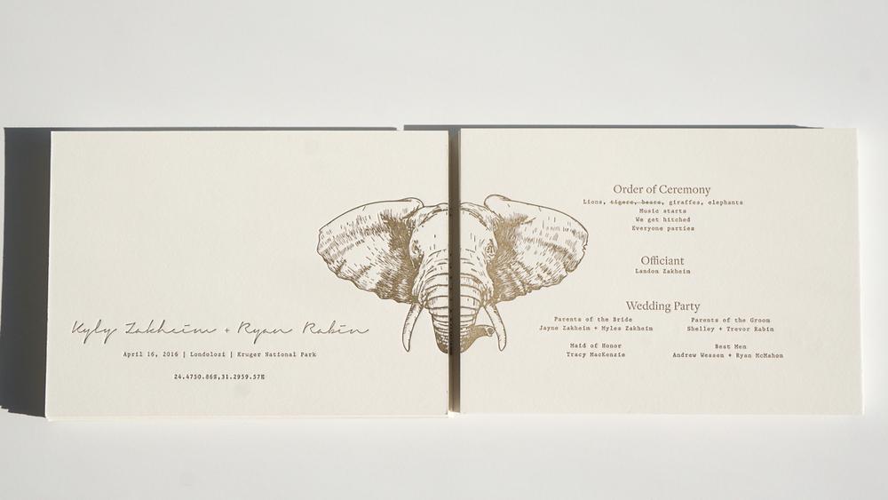 Wedding program (letterpress) / front and back