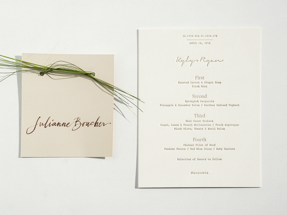 Wedding dinner menu + place card