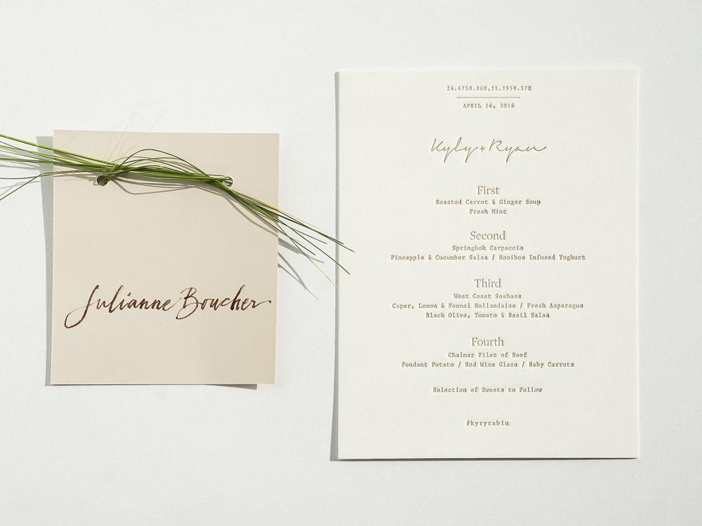 Wedding dinner menu + place card