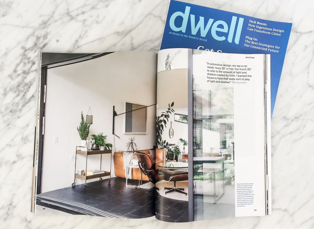 Our living room in print in Dwell Magazine, Jul/Aug issue