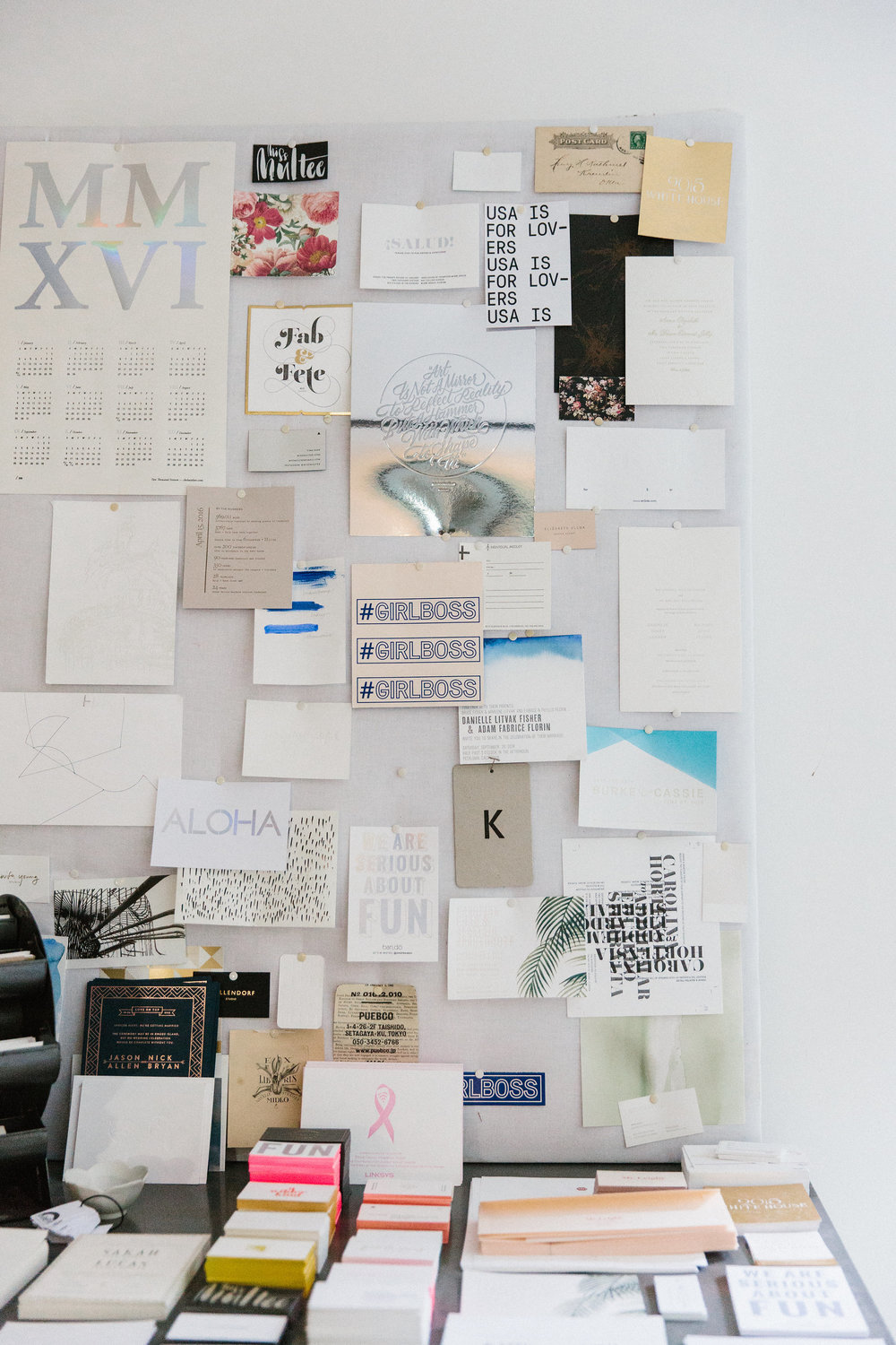 Studio moodboard of inspiration + previous print projects
