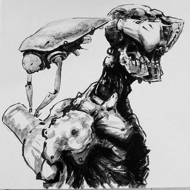 Lunch sketch. #sketchbook #mech #ink #gouache #artistsoninstagram