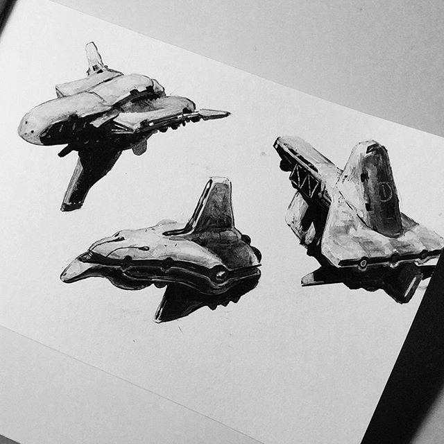 Tiny ships! . . . #gouache #ink #scifi #spaceship #sketchbook  #sketch #brushpen