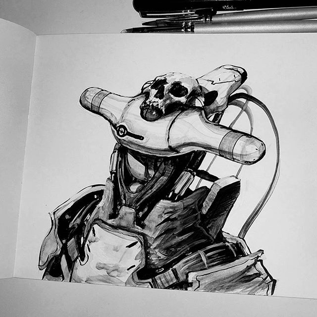 Evening mech head sketch. #conceptart #art #ink #scifiart #scifi #sketchbook #sketch