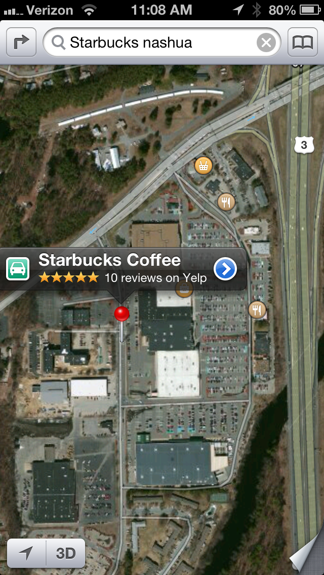 Apple maps still has it wrong, whether I search for the exact address or just Starbucks in general.
