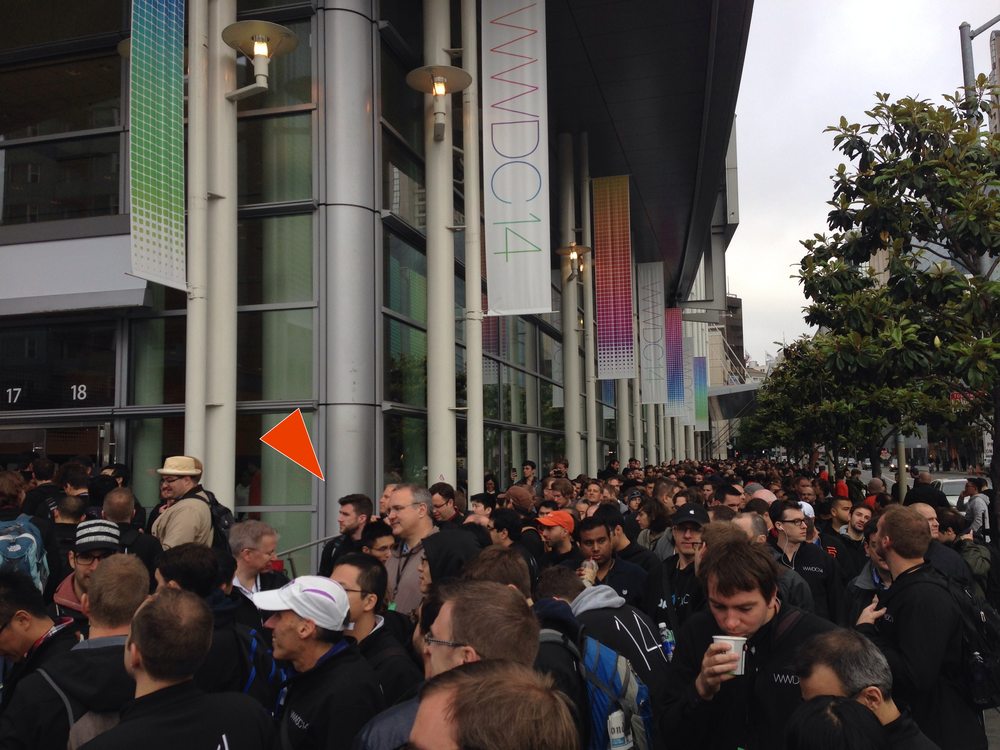 7:41:05AM in The Verge's WWDC 2014 live blog.