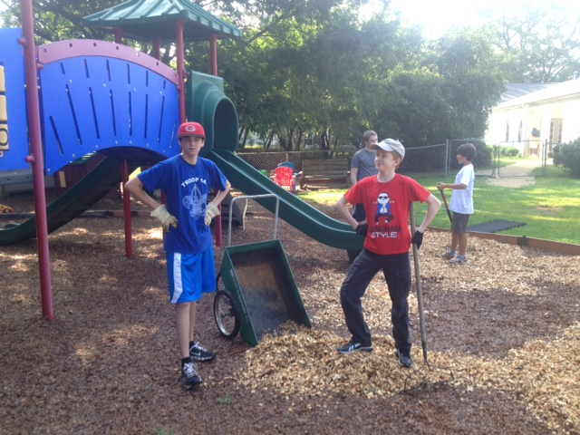 Spreading Mulch at Friendship Presbyterian Playground