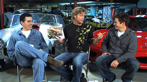 Adam Carolla (left) already seems to be getting along with Top Gear co-hosts Eric Strommer and Tanner Foust in this first screen capture from the NBC set, first broken (along with most of the other Top Gear USA news on the show) by Jalopnik (via  Top Gear USA on NBC Details – Adam Carolla Interview Hints at New Top Gear Episodes - Popular Mechanics )
