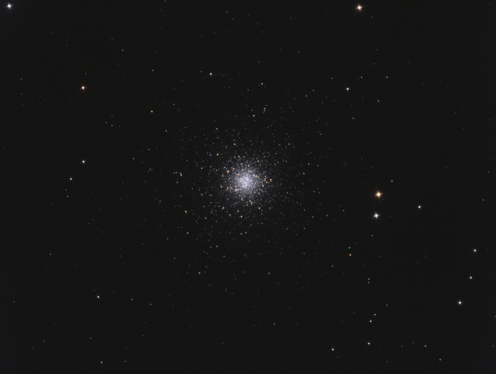 Messier 53 (also known as M53 or NGC 5024) is a globular cluster in the Coma Berenices constellation. It was discovered by Johann Elert Bode in 1775. M53 is one of the more outlying globular clusters, being about 60,000 light-years away from the Galactic Center, and almost the same distance (about 58,000 light-years) from the Solar system.