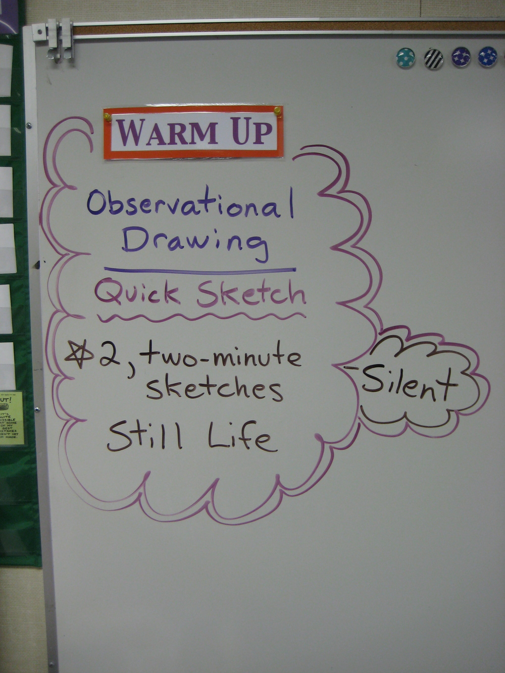 Warm Up assignment on the white board.