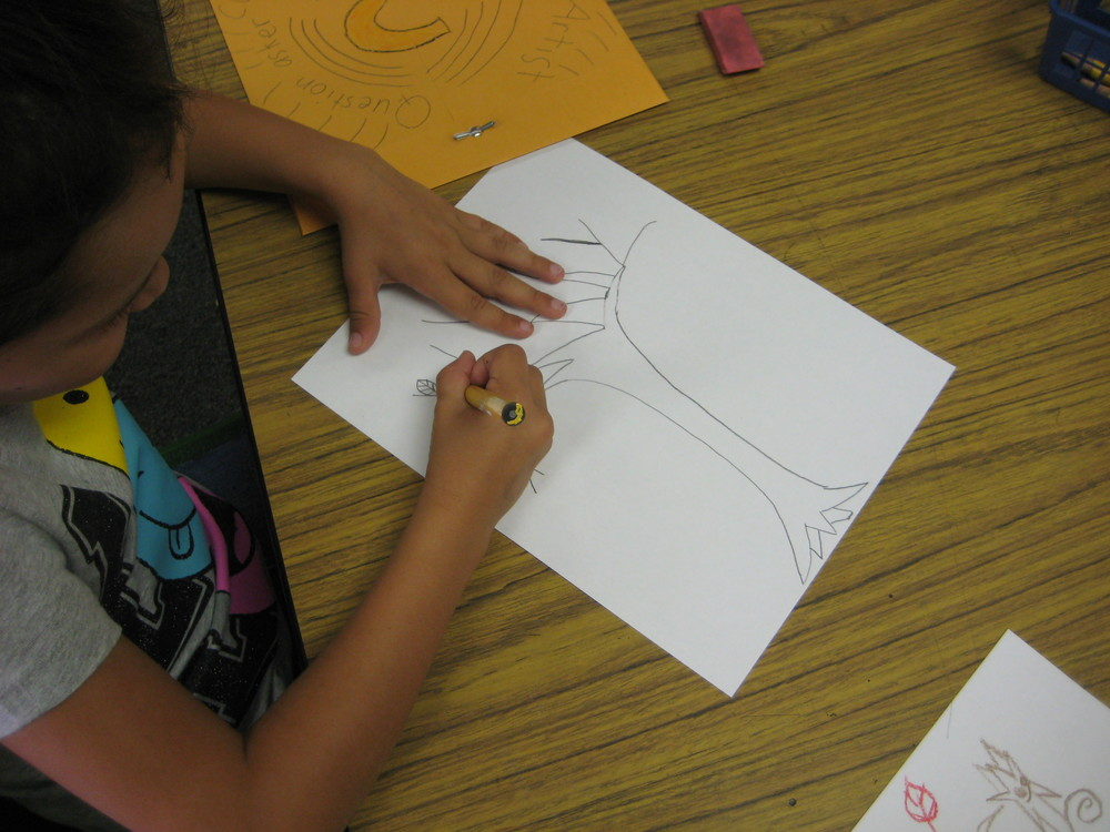 Students drawing their scene with at least one leaf.