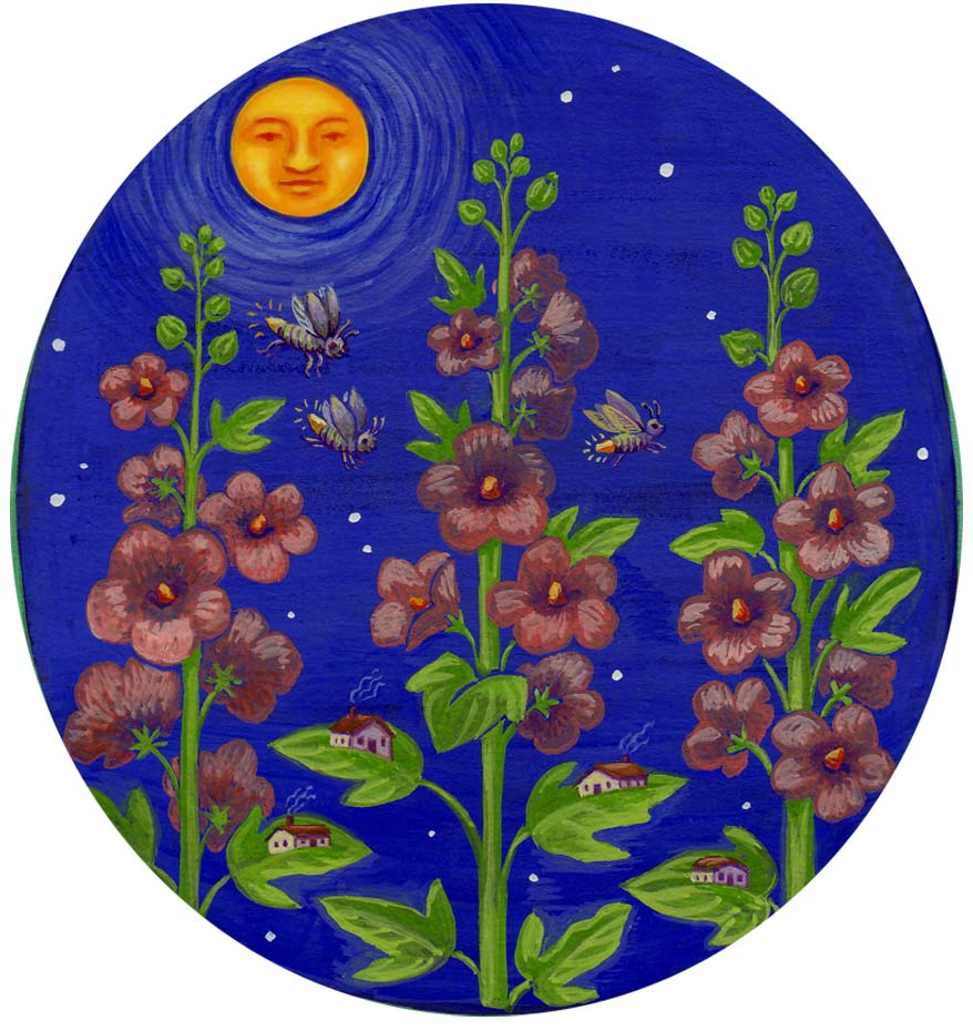 hollyhocks and moon.jpg