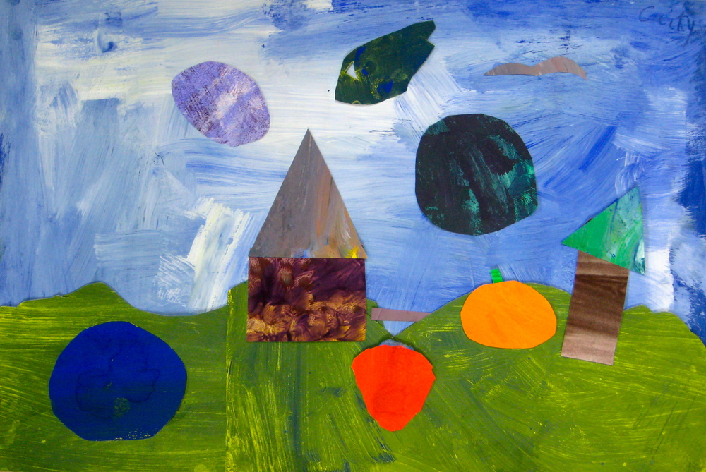 Grade 3 Collage using Tempera Painted Papers applied with above technique
