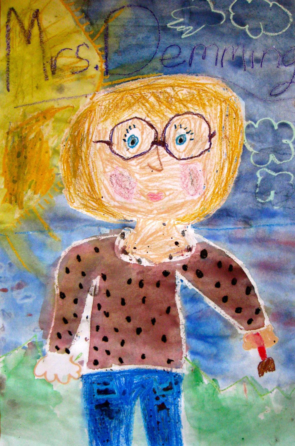 Portrait of Ms. Deming by Grade Four Roosevelt student.