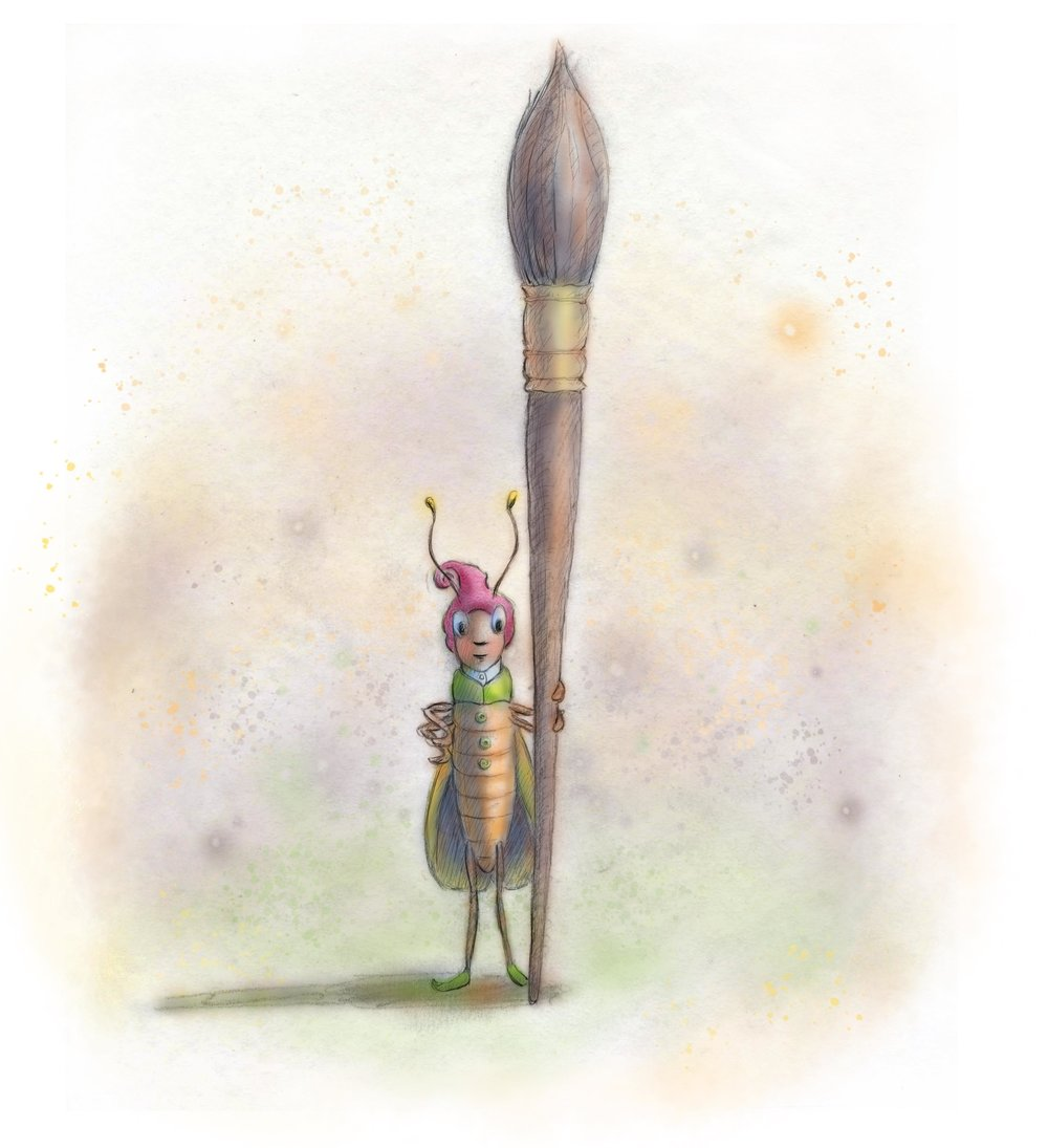 Busy bug with brush & pink hat.jpeg