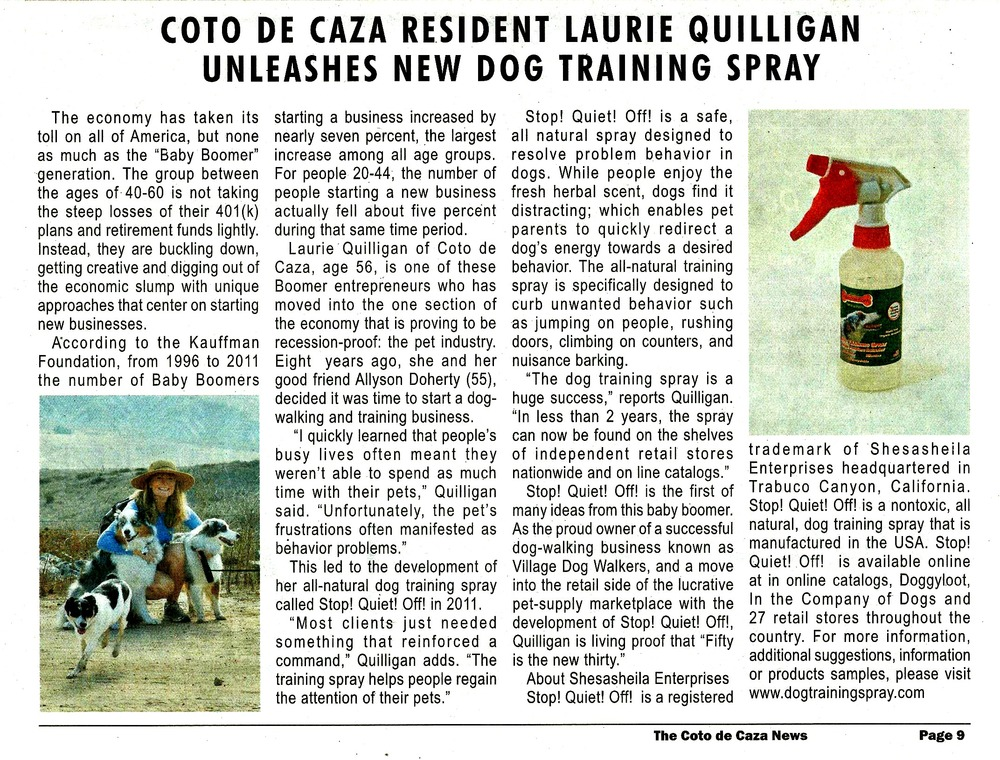 Coto de Caza Resident Laurie Quilligan Unleashes New Dog Training Spray