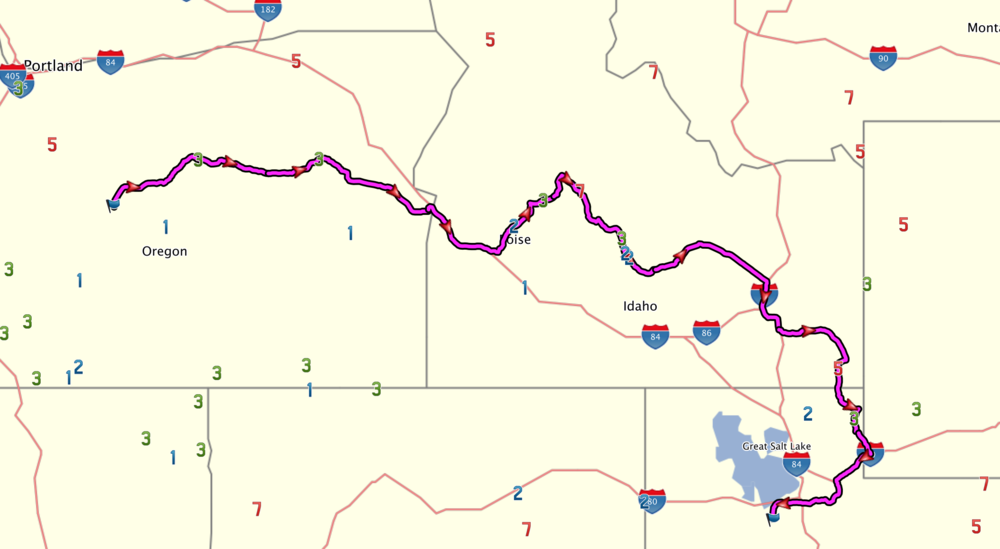 Day 1 route.  Click to enlarge.
