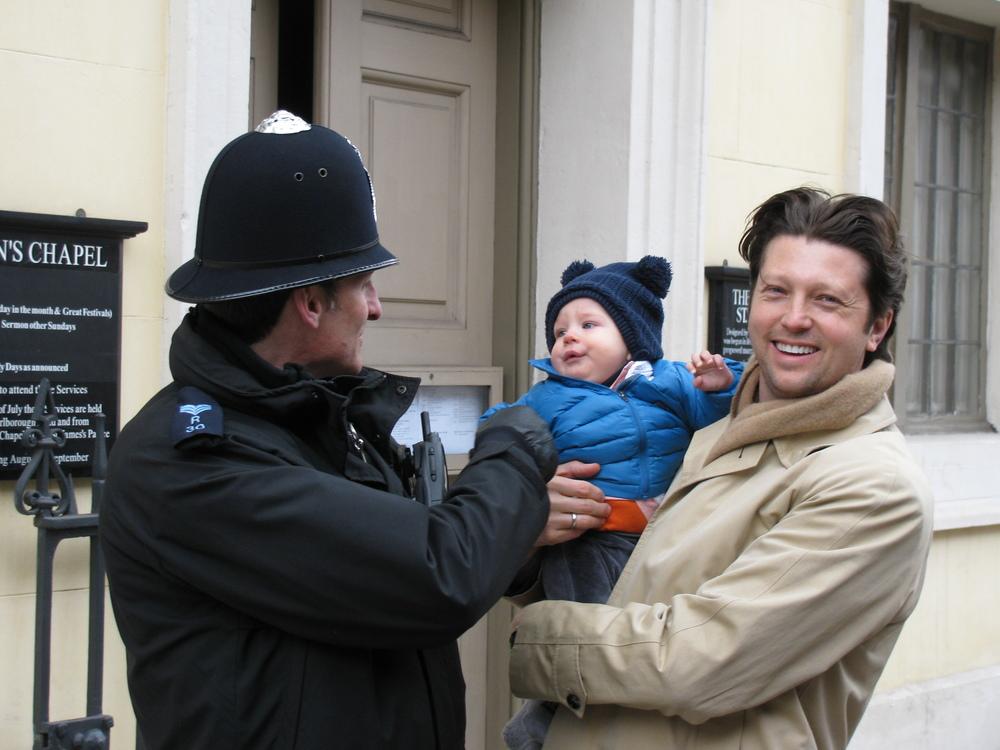 Tristan making friends in London