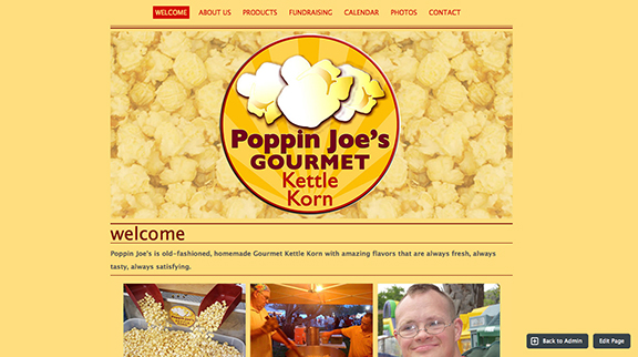 Poppin Joe's Gourmet Kettle Korn / website branding