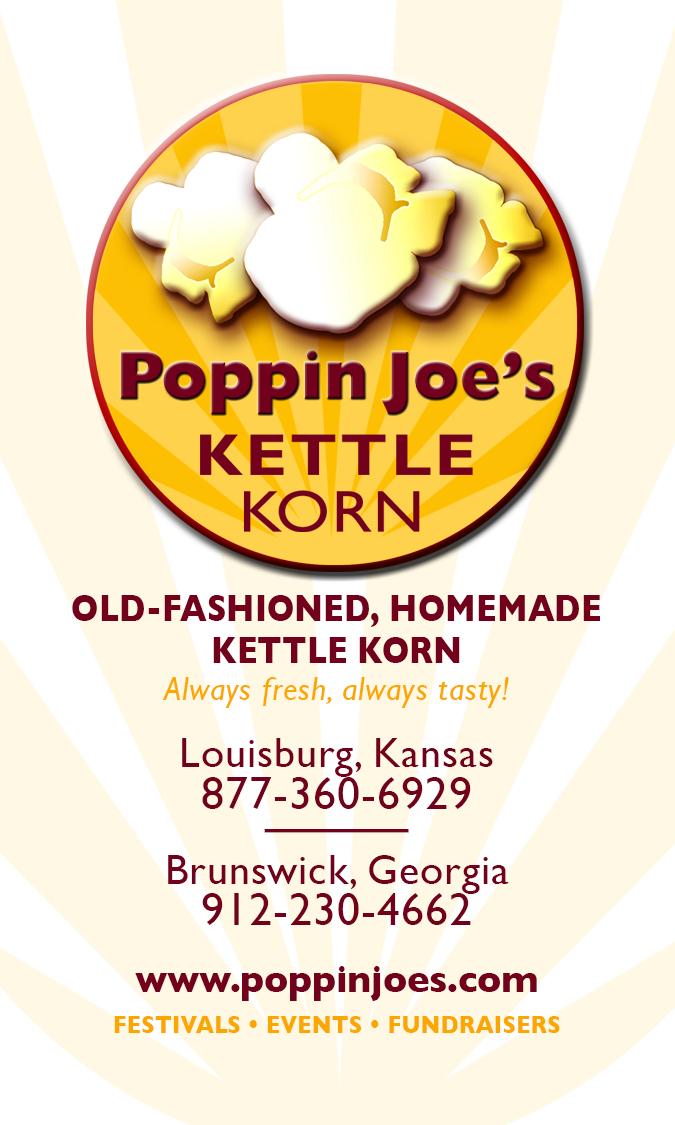 Poppin Joe's Gourmet Kettle Korn / business card