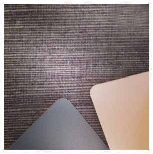 Metallic grasscloth and paint samples for interior design for Elle Aveda Salon & Spa
